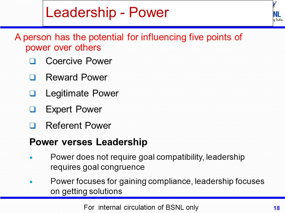 Leadership - Power Power verses Leadership