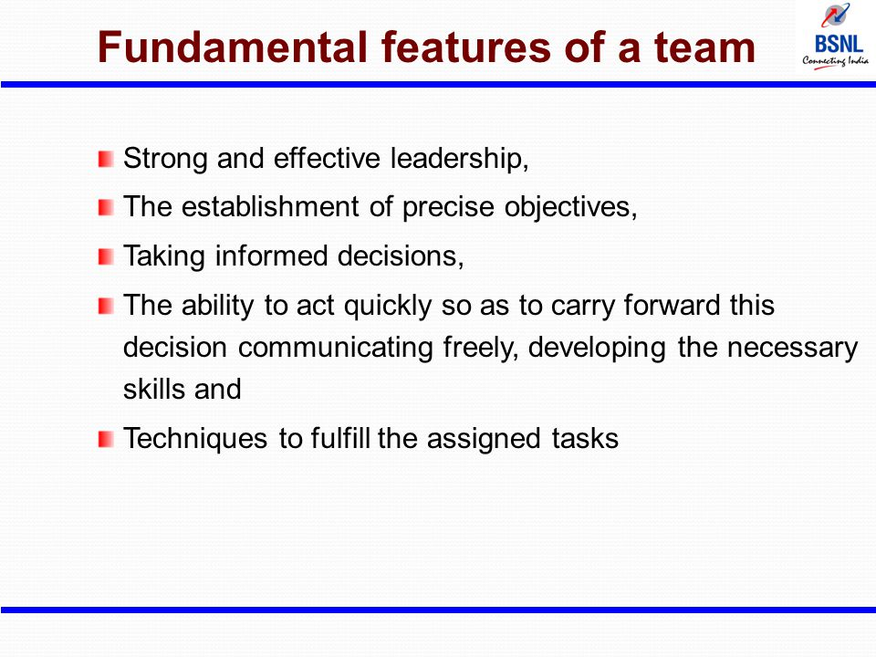 Fundamental features of a team