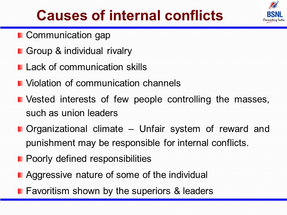 Causes of internal conflicts
