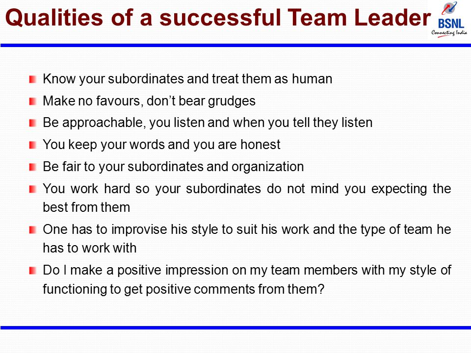 Qualities of a successful Team Leader