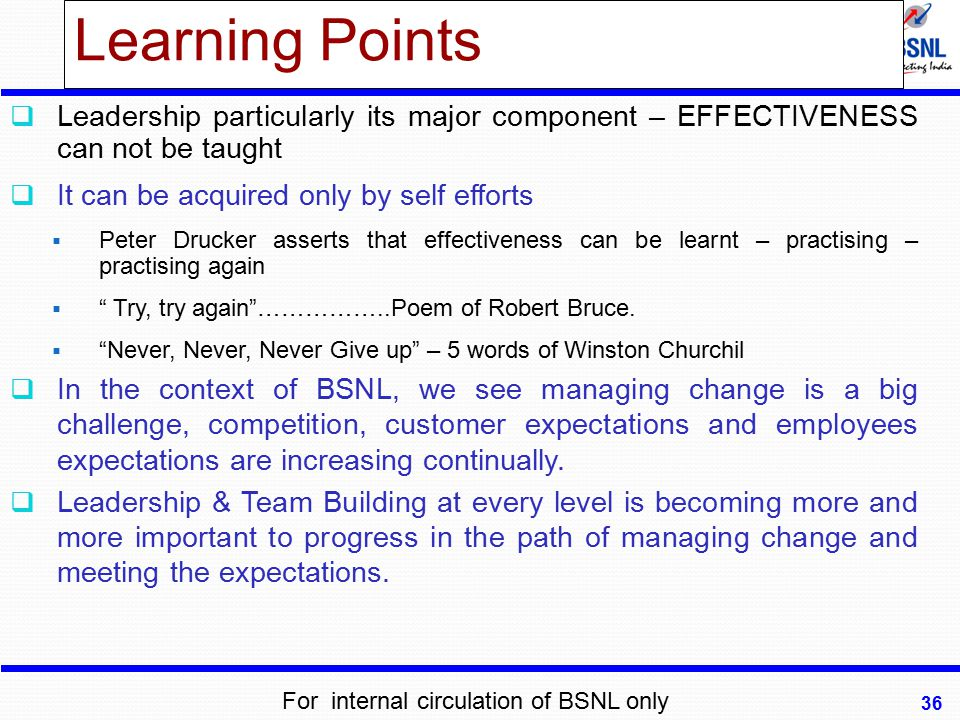 Learning Points Leadership particularly its major component – EFFECTIVENESS can not be taught. It can be acquired only by self efforts.