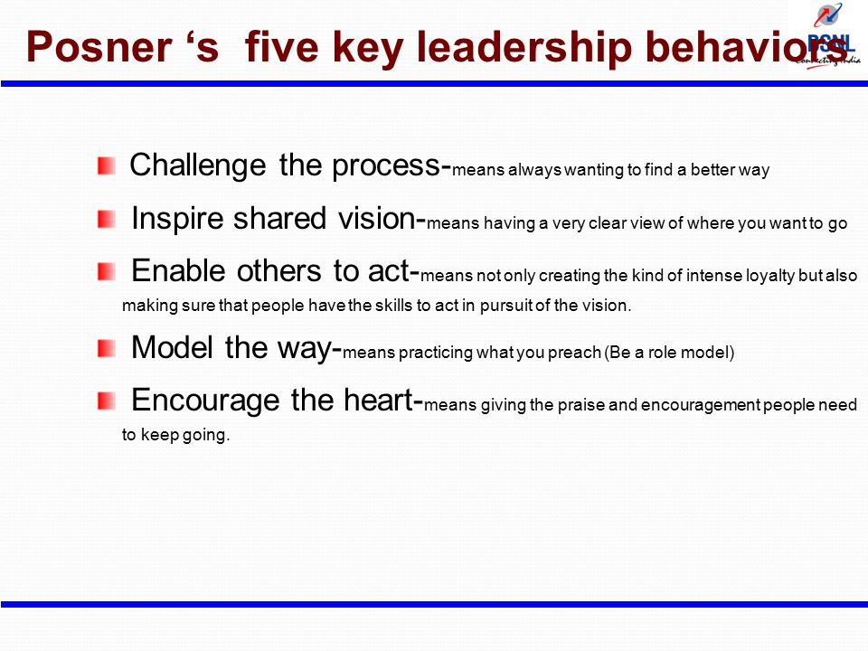 Posner 's five key leadership behaviors