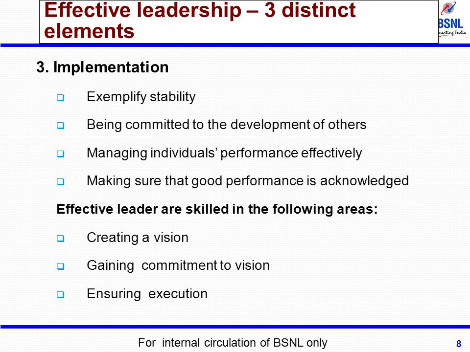 Effective leadership – 3 distinct elements
