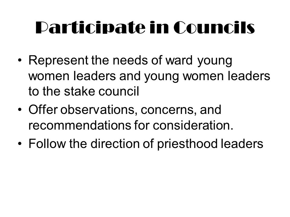 Participate in Councils