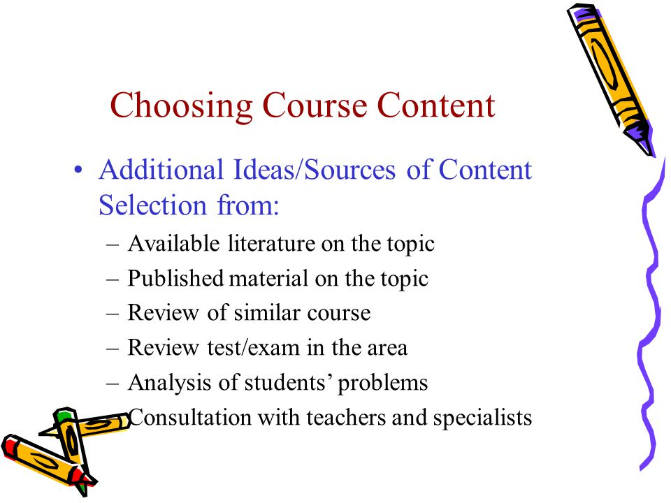 Choosing Course Content