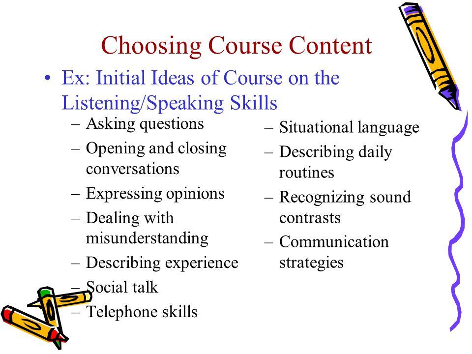 Choosing Course Content