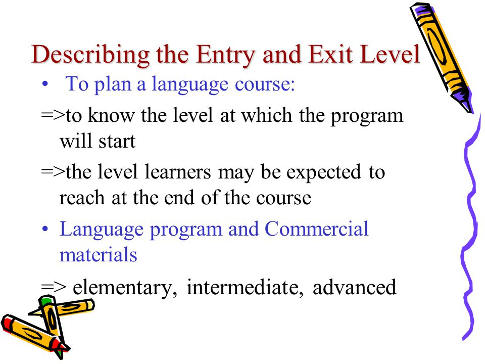 Describing the Entry and Exit Level