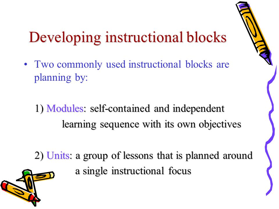 Developing instructional blocks