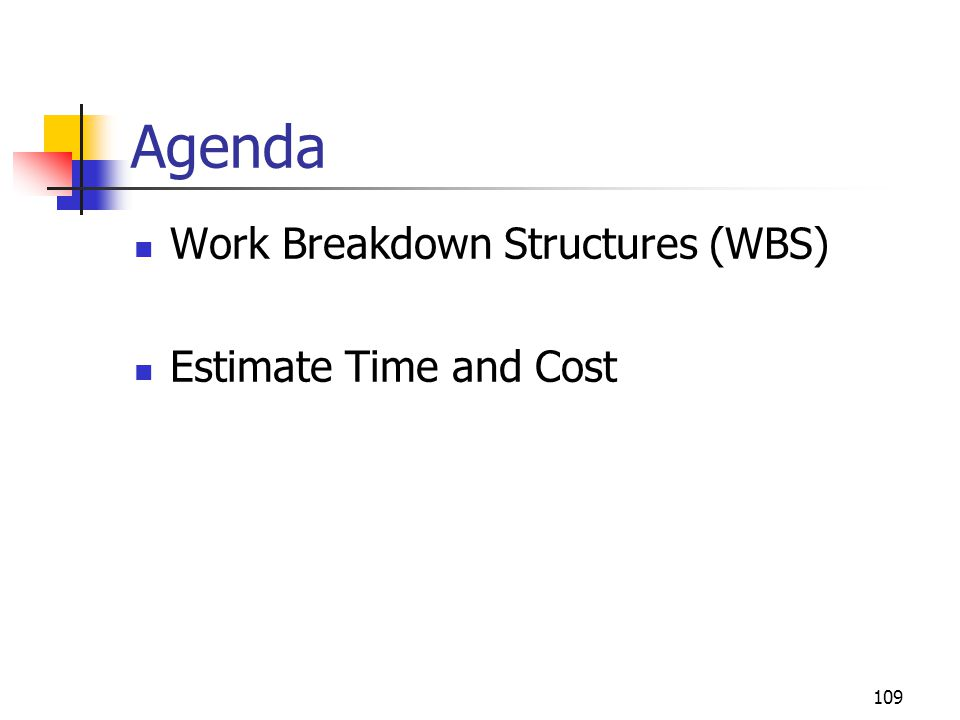 Agenda Work Breakdown Structures (WBS) Estimate Time and Cost