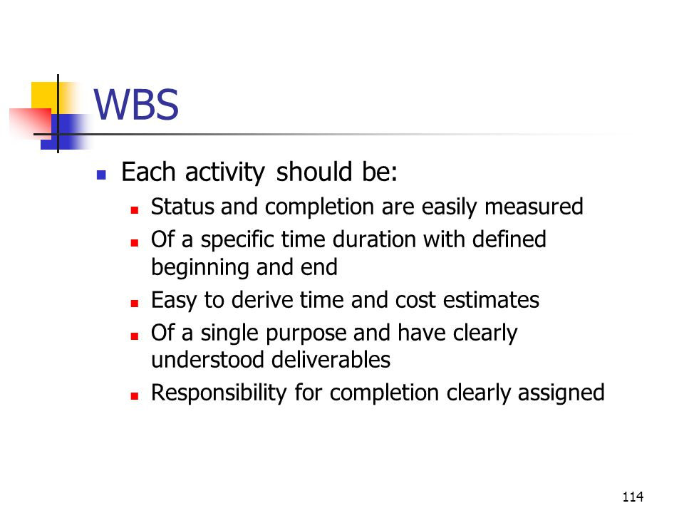 WBS Each activity should be: Status and completion are easily measured