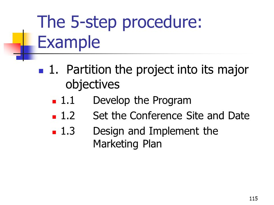 The 5-step procedure: Example