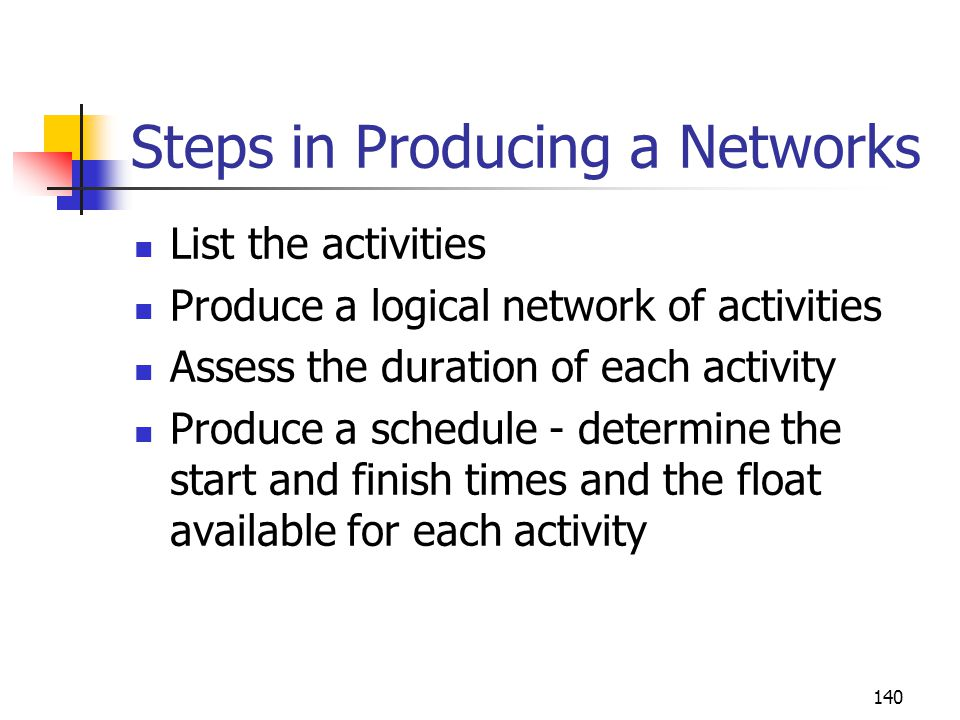 Steps in Producing a Networks