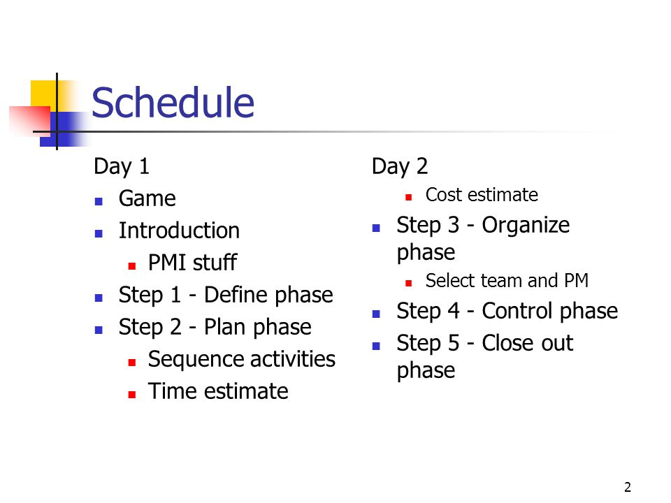 Schedule Day 1 Game Introduction PMI stuff Step 1 - Define phase