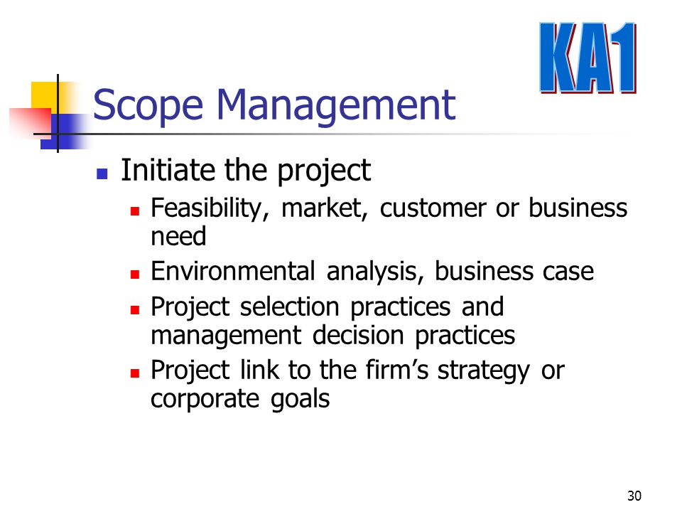 Scope Management KA1 Initiate the project