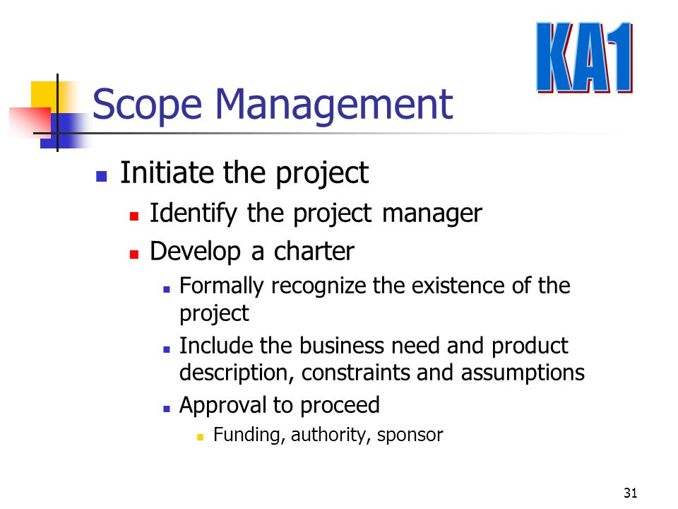 Scope Management KA1 Initiate the project Identify the project manager