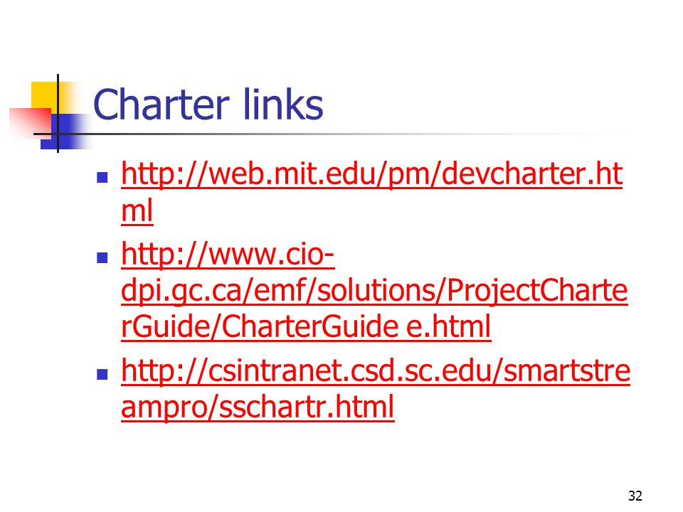 Charter links http://web.mit.edu/pm/devcharter.html