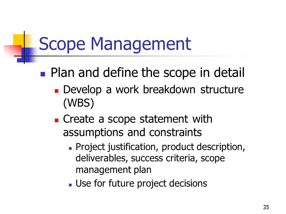 Scope Management Plan and define the scope in detail