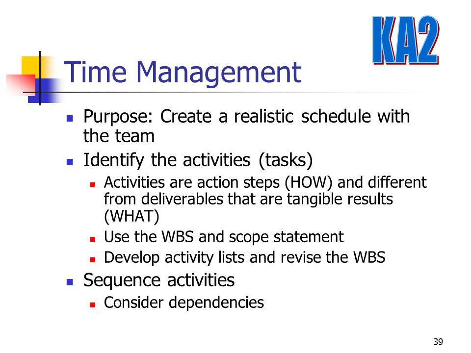 Time Management KA2 Purpose: Create a realistic schedule with the team