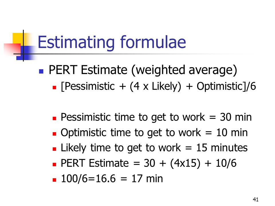 Estimating formulae PERT Estimate (weighted average)