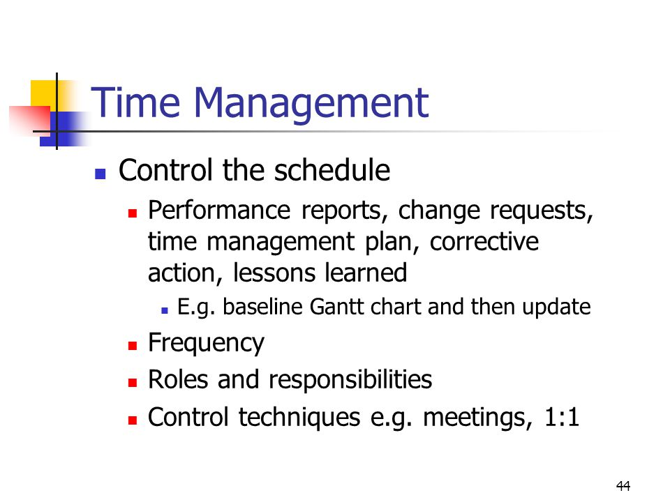 Time Management Control the schedule