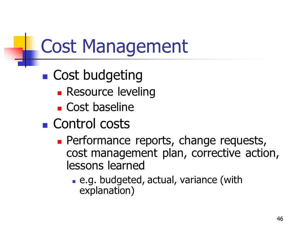 Cost Management Cost budgeting Control costs Resource leveling