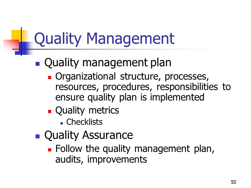 Quality Management Quality management plan Quality Assurance
