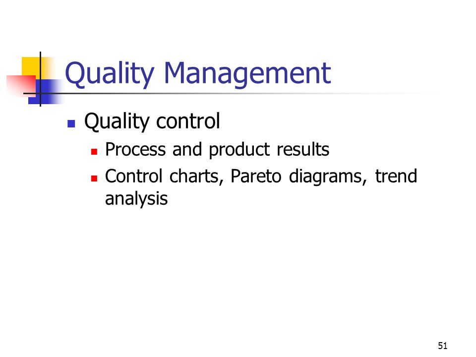 Quality Management Quality control Process and product results