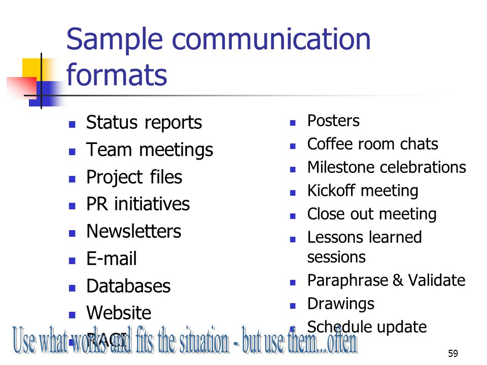 Sample communication formats