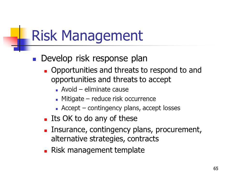 Risk Management Develop risk response plan