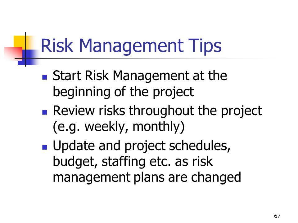 April 2002 Risk Management Tips. Start Risk Management at the beginning of the project. Review risks throughout the project (e.g. weekly, monthly)