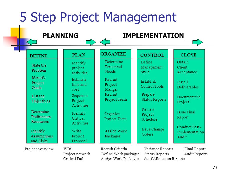 5 Step Project Management PLANNING IMPLEMENTATION