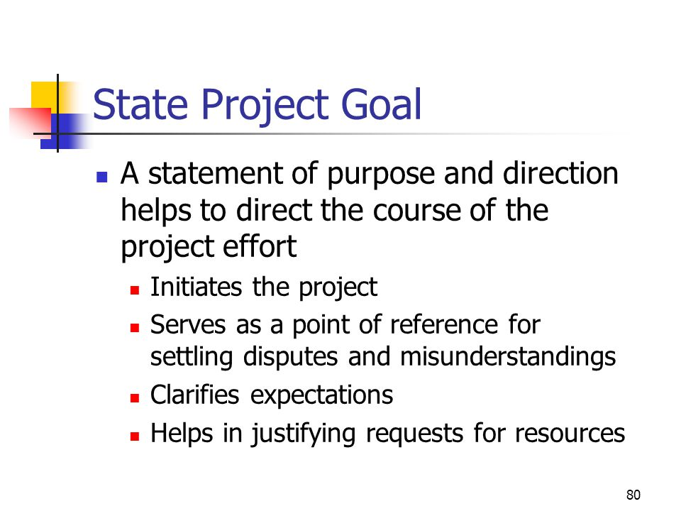 April 2002 State Project Goal. A statement of purpose and direction helps to direct the course of the project effort.
