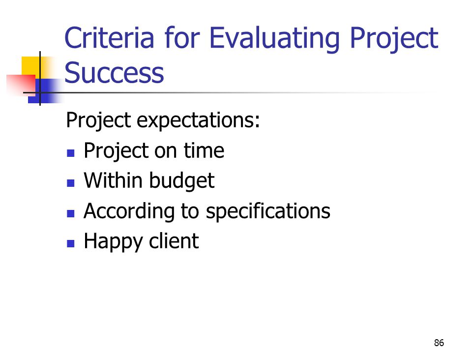Criteria for Evaluating Project Success