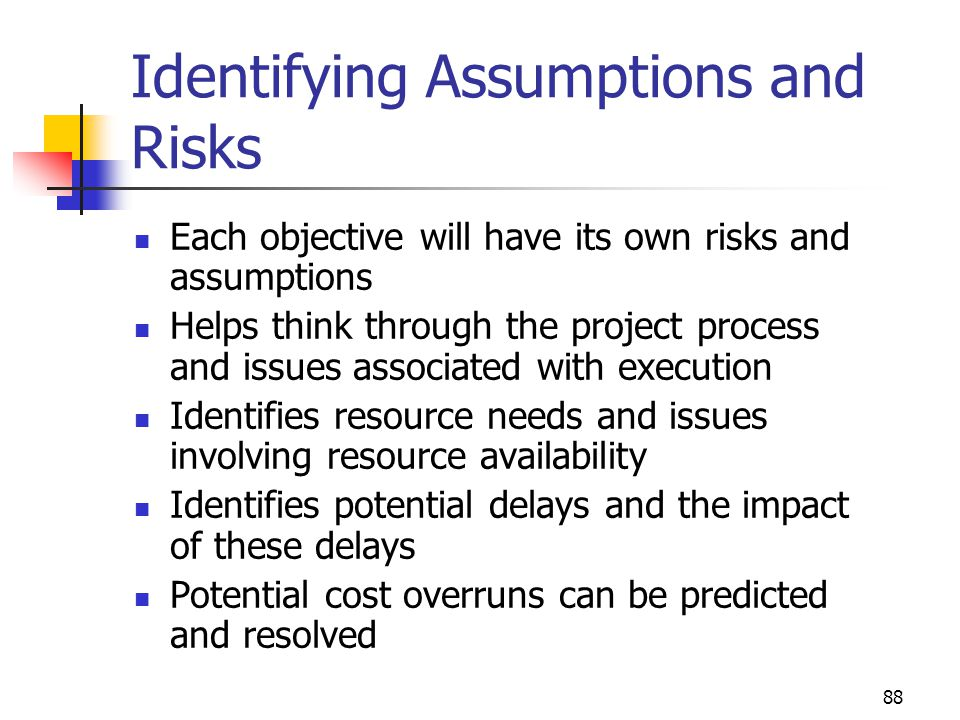 Identifying Assumptions and Risks
