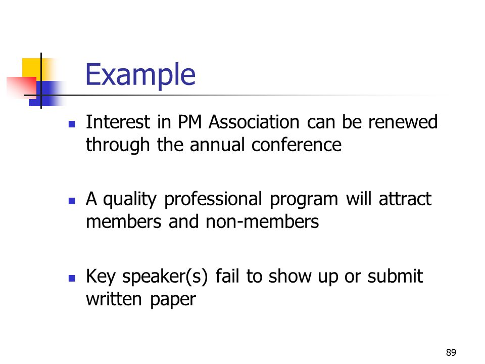 April 2002 Example. Interest in PM Association can be renewed through the annual conference.