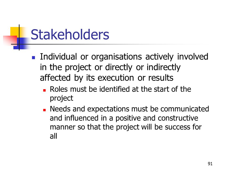 April 2002 Stakeholders. Individual or organisations actively involved in the project or directly or indirectly affected by its execution or results.