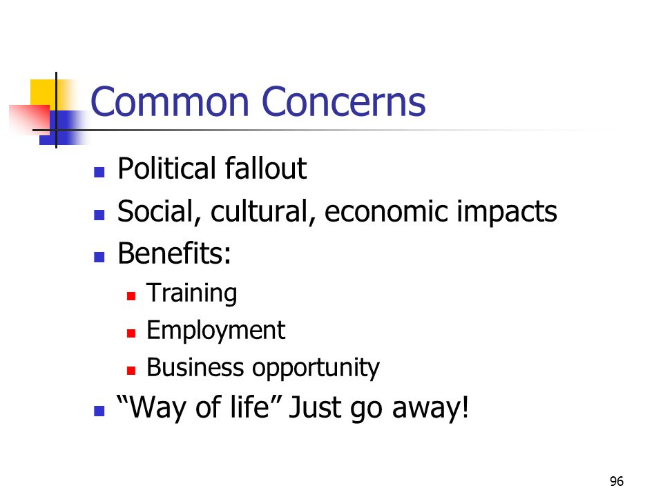 Common Concerns Political fallout Social, cultural, economic impacts