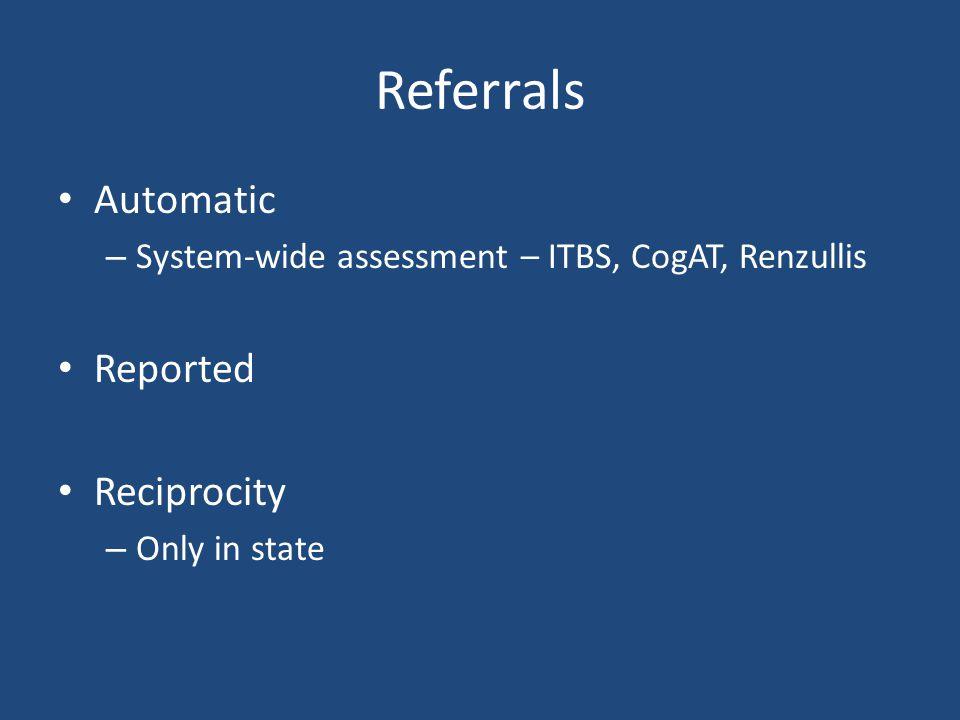 Referrals Automatic Reported Reciprocity
