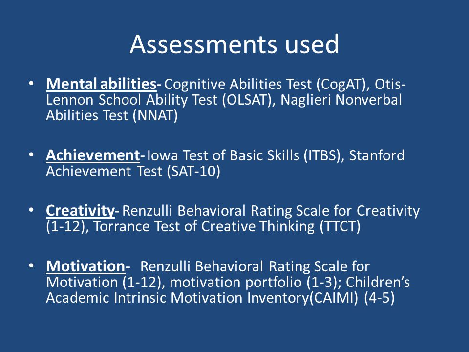 Assessments used