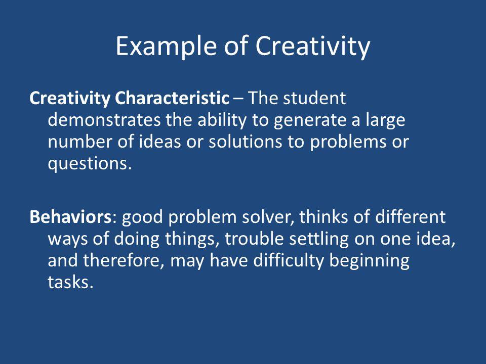 Example of Creativity