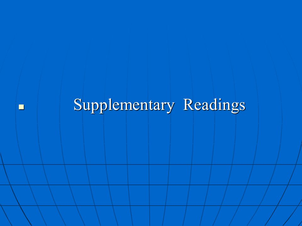 Supplementary Readings