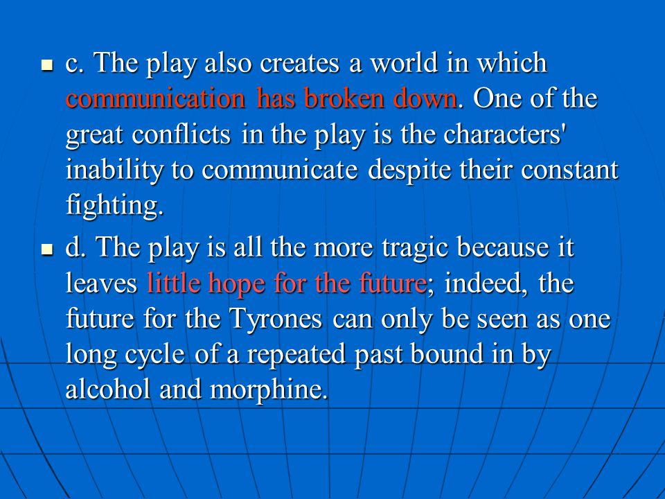 c. The play also creates a world in which communication has broken down. One of the great conflicts in the play is the characters inability to communicate despite their constant fighting.