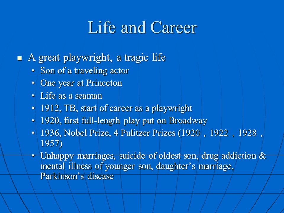 Life and Career A great playwright, a tragic life
