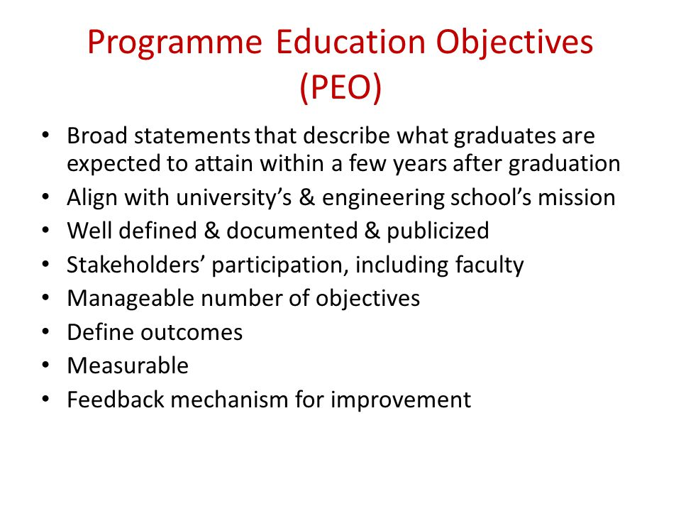Programme Education Objectives (PEO)