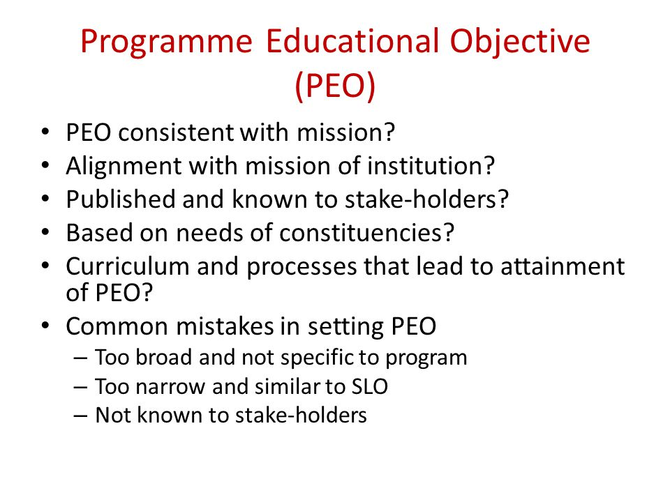 Programme Educational Objective (PEO)