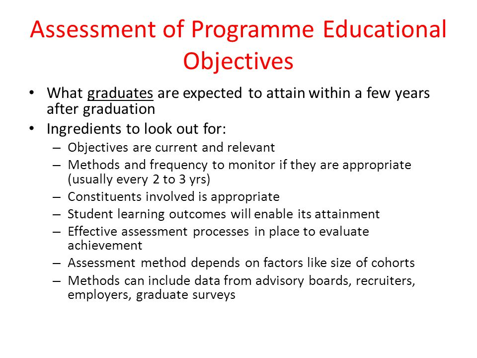 Assessment of Programme Educational Objectives