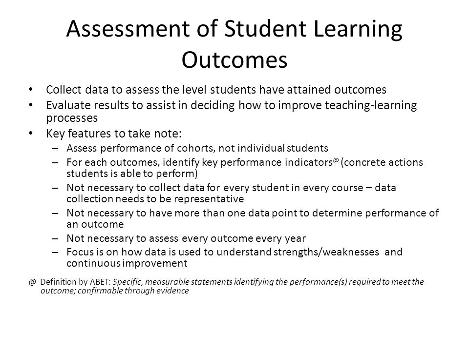 Assessment of Student Learning Outcomes