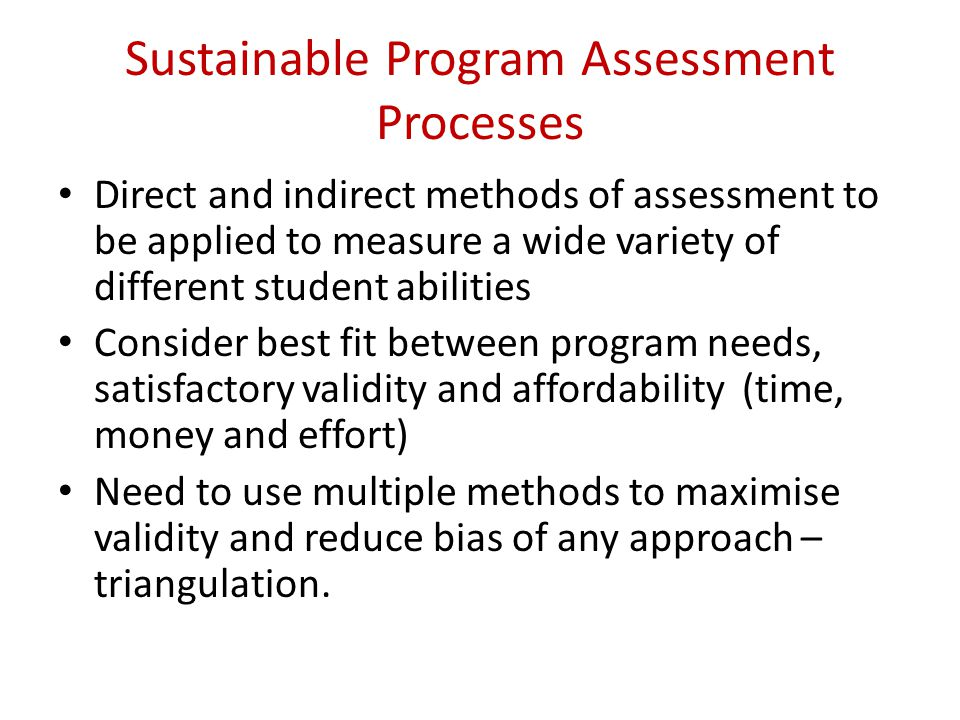 Sustainable Program Assessment Processes