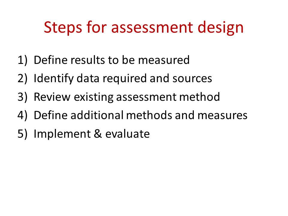 Steps for assessment design