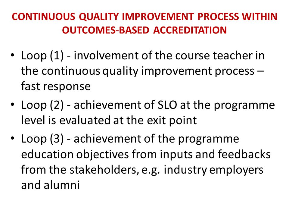 Continuous Quality Improvement Process within Outcomes-based Accreditation